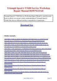 Triumph Speed 4 TT600 Service Workshop Repair Manual ...