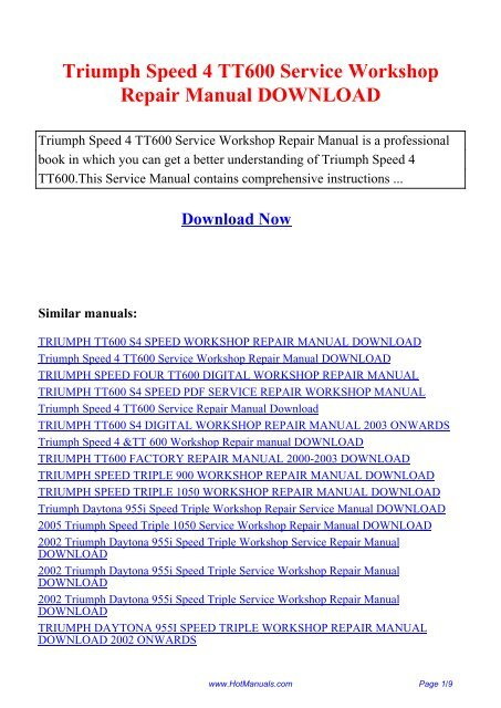 Triumph Speed 4 Tt600 Service Workshop Repair Manual