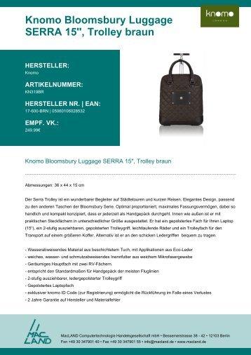 """Knomo Bloomsbury Luggage SERRA 15"""", Trolley braun - MacLAND"""
