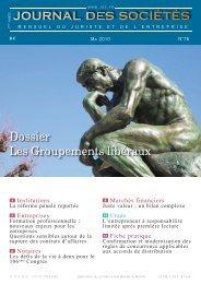 Dossier Les Groupements libéraux - Journal Spécial des Sociétés