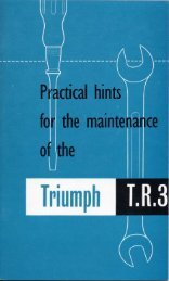 Practical hints for the maintenance of the Triumph TR3