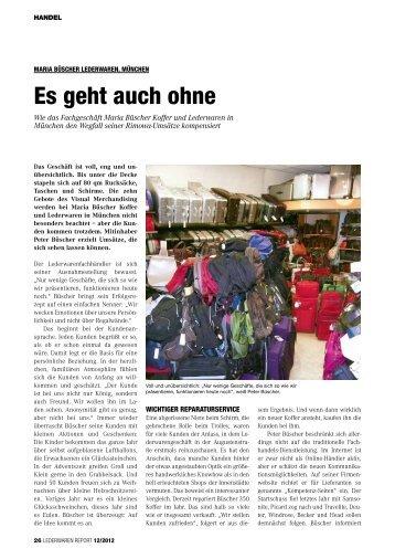 Lederwaren Report 12/2012 - Koffer Büscher