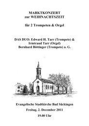 MARKTKONZERT zur WEIHNACHTSZEIT für 2 Trompeten & Orgel