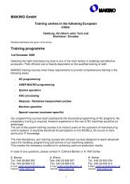 Training programme - Makino Europe GmbH