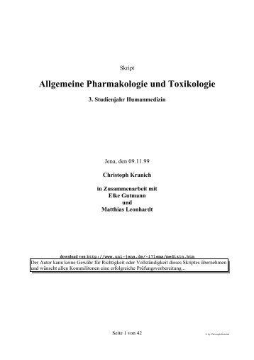 Allgemeine Pharmakologie und Toxikologie