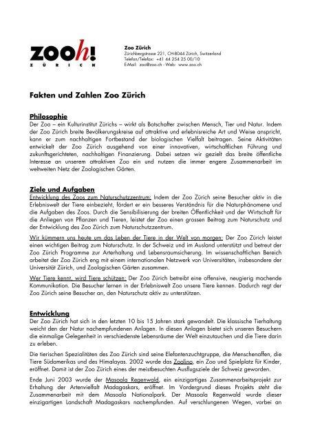 Fakten und Zahlen Zoo Zürich - Artenschutz Schweiz