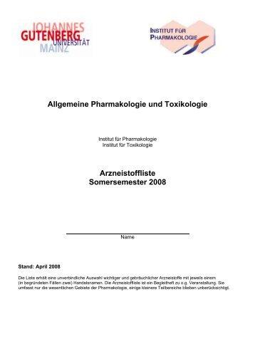 KURSUS UND VORLESUNG - Institut für Pharmakologie