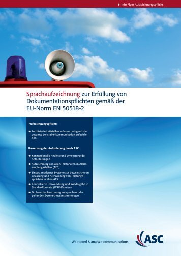 Sprachaufzeichnung zur Erfüllung von ... - ASC telecom