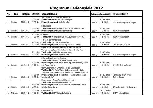 Ferienspiele 2012 Programm (2) - Meinerzhagen