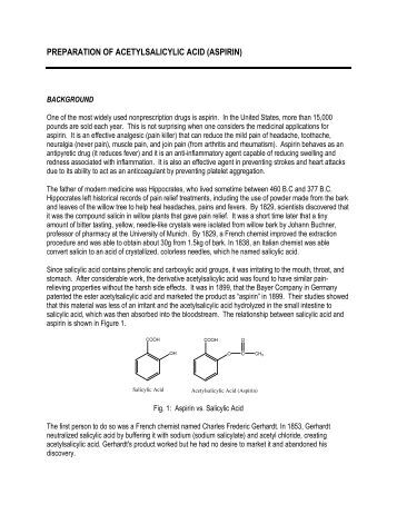 preparation and recrystallisation aspirin 1 Computer 22 advanced chemistry with vernier 22 - 1 the synthesis and analysis of aspirin aspirin, the ubiquitous pain reliever, goes by the chemical name acetylsalicylic acid.