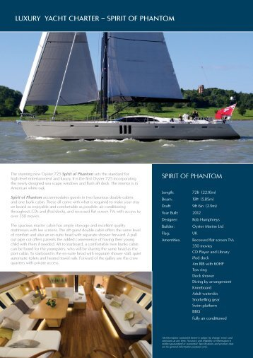 LUXURY YACHT CHARTER – SPIRIT OF PHANTOM - Oyster Yachts