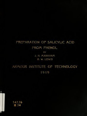 The preparation of salicylic acid from phenol