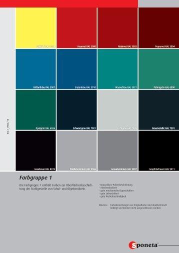 Farbgruppe 1 - Sponeta