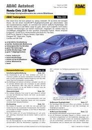 Umfassender Test Honda Civic 2.0i Sport - ADAC