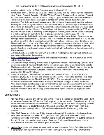 pto meeting minutes september 11th 2007 meeting called to order