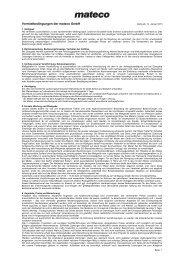 Vermietbedingungen der mateco GmbH