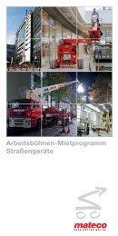 Arbeitsbühnen-Mietprogramm Straßengeräte - Mateco