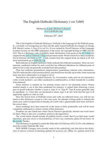 The English-Dothraki Dictionary ( ver 3.069)