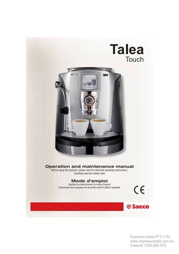 Saeco Talea Touch user manual - Coffee Machines