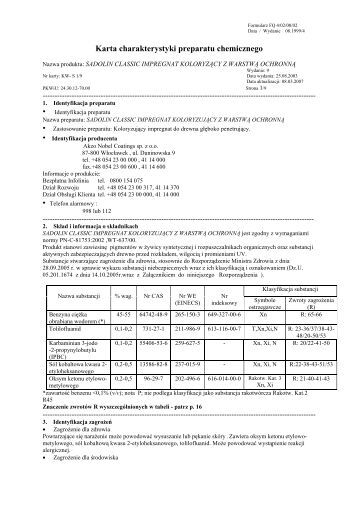 Karta charakterystyki preparatu chemicznego - Nobiles