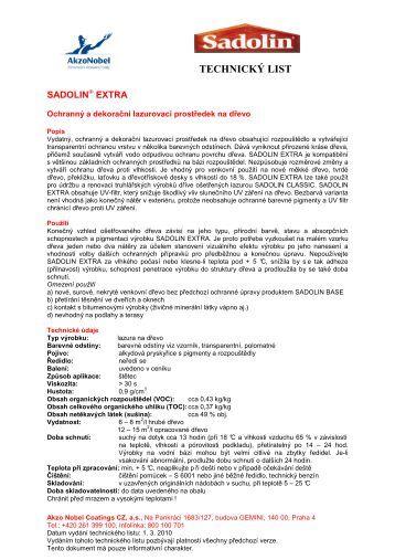 technický list - Sadolin