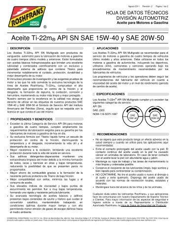 Aceite Ti-22m® API SN SAE 15W-40 y SAE 20W-50 - Roshfrans
