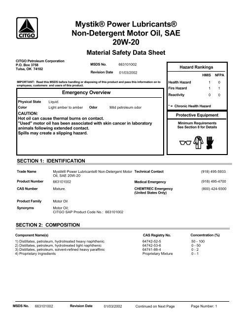 2232 Mystik Power Lubricants Non Detergent Motor Oil Sae