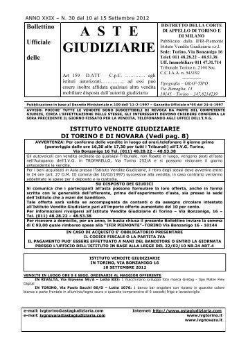 Bollettino Ufficiale delle ASTE GIUDIZIARIE - Comune di Novara