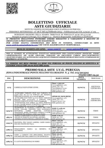BOLLETTINO UFFICIALE ASTE GIUDIZIARIE - IVG Perugia
