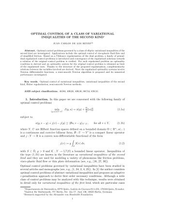 OPTIMAL CONTROL OF A CLASS OF VARIATIONAL ...
