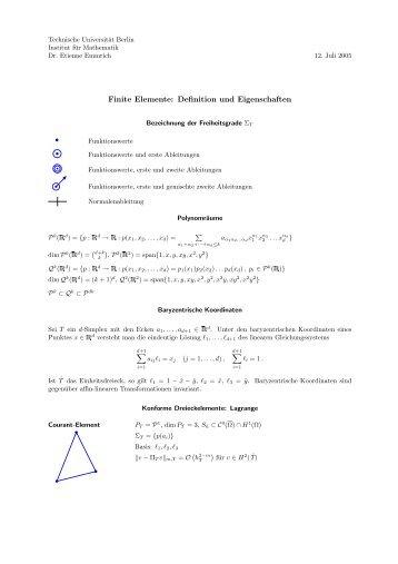 Finite Elemente: Definition und Eigenschaften - Institut für Mathematik