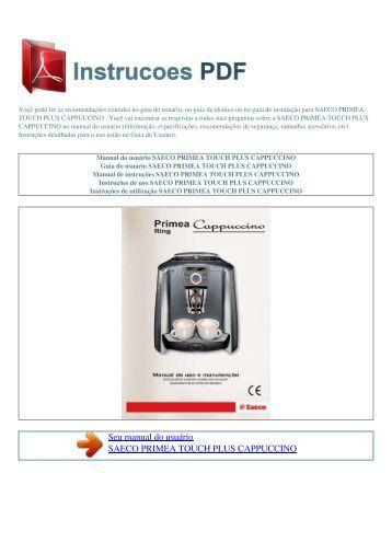 Manual do usuário SAECO PRIMEA TOUCH PLUS CAPPUCCINO