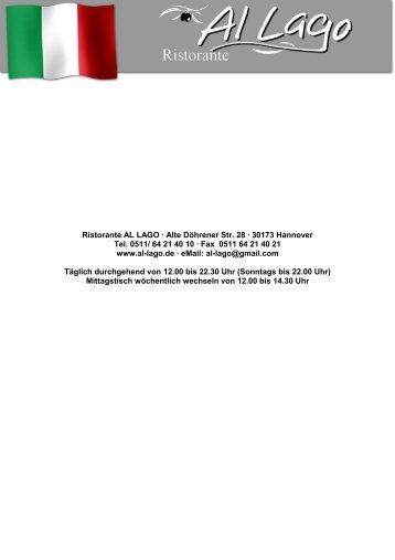 Ristorante AL LAGO · Alte Döhrener Str. 28 · 30173 Hannover Tel ...