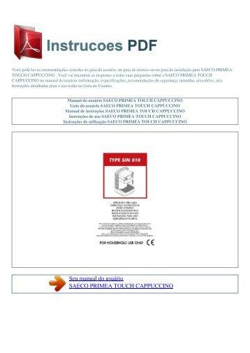 Manual do usuแrio SAECO PRIMEA TOUCH CAPPUCCINO