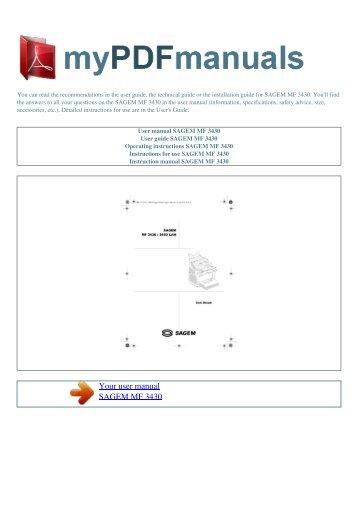 User manual SAGEM MF 3430 - MY PDF MANUALS