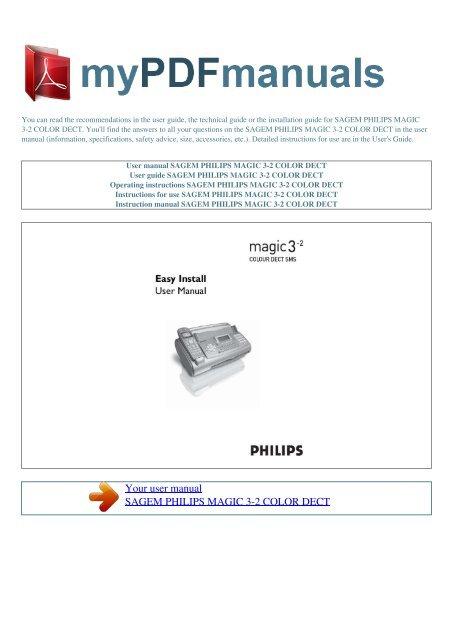 get philips magic 3 manual