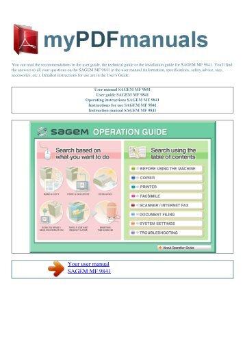 User manual SAGEM MF 9841 - MY PDF MANUALS