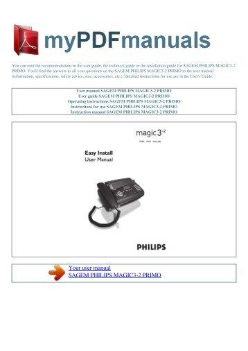 user manual sagem fax philips magic 3 primo my pdf rh yumpu com Philips Universal Remote Code Manual Philips Universal Remote SRP2003 27 Manual