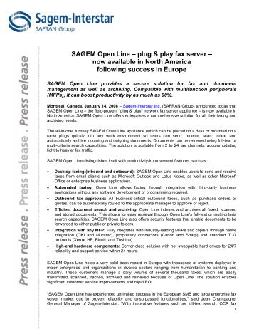 SAGEM Open Line – plug & play fax server – now ... - Sagemcom