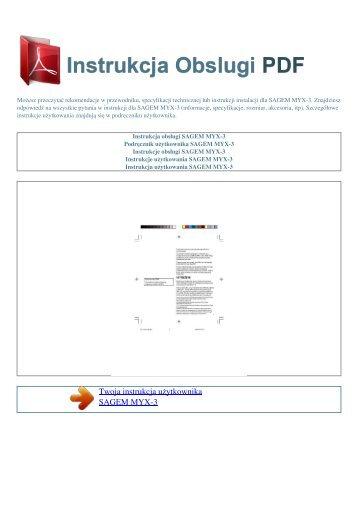 Instrukcja obsługi SAGEM MYX-3 - INSTRUKCJA OBSLUGI PDF