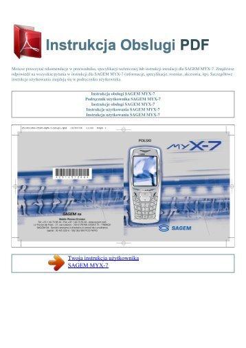 Instrukcja obsługi SAGEM MYX-7 - INSTRUKCJA OBSLUGI PDF