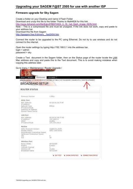 Upgrading your Sagem pdf - Sky User