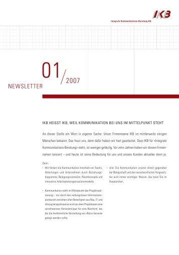 NEWSLETTER - IKB - Integrale Kommunikations Beratung AG