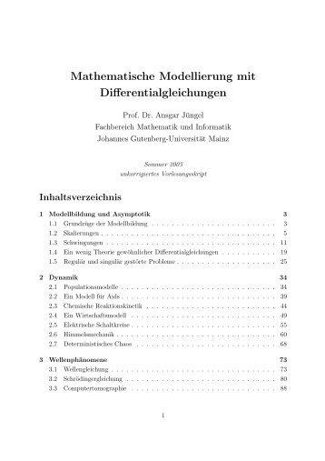 Mathematische Modellierung mit Differentialgleichungen