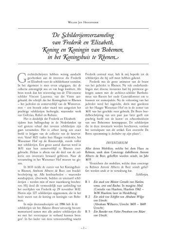 De Schilderijenverzameling van Frederik en Elizabeth, Koning en ...