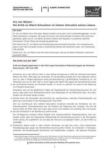 Die Kritik an Albert Schweitzer im letzten Jahrzehnt ... - Matthias-Film