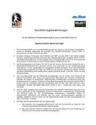 Durchführungsbestimmungen - Handball Bundesliga Frauen