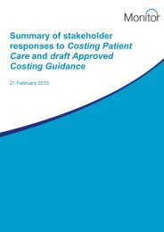Summary of stakeholder responses to 'Costing Patient Care' - Monitor