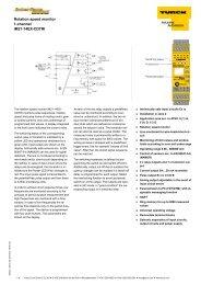 Rotation speed monitor - TURCK GmbH & Co. KG