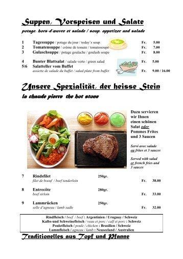 Suppen, Vorspeisen und Salate Unsere Spezialität, der heisse Stein